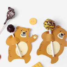 50PCS Cute Bear Candy Lollipop Decoration Card Wedding Kids Birthday Party Gift Accessories Supplies