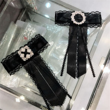 Korea Handmade New Lace Bowknot Rhinestone Shirt Blouse Pins Neck Bow Tie Apparel Accessories Fashion Jewelry-YHNLB019F цена 2017