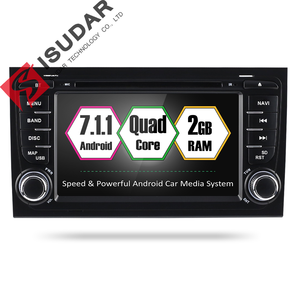 Isudar Car Multimedia player Android 7.1.1 GPS 2 Din Autoradio For Audi/A4/S4 2002-2008 Quad Core 2GB RAM ROM 16GB ROM Wifi FM