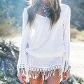 2017 Women dress New Fashion Designer Loose O neck beach Dresses Summer Casual long sleeve ladies elegant tassel Dresses