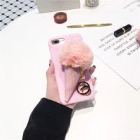Fashion Girl Pink 3D Lovely Ice Cream Patterned Hard Plastic Velvet Mobile Phone Cases For IPhone7