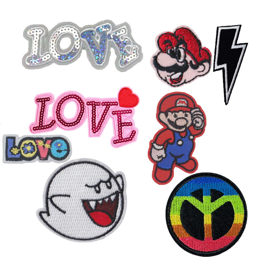 Space Super Mario Brothers BULLET COMIC GHOST BOO Stitch Pikachu Sequins Love Peace For Clothes Badge Embroidered Appliques DIY stitch