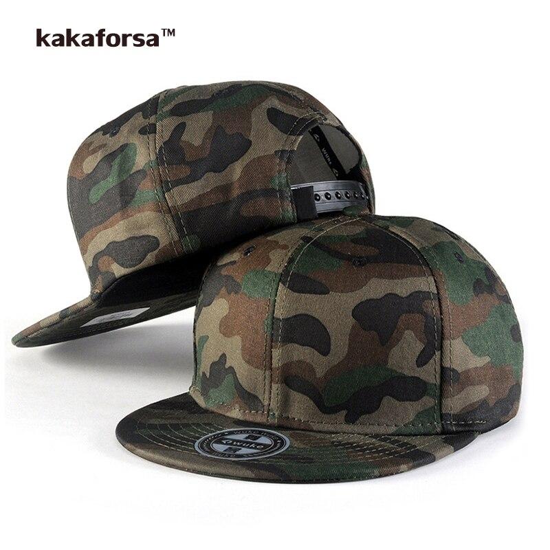 Prix pour Kakaforsa Hommes Camo Coton Casquettes de Baseball de Haute Qualité Impression Hip Hop Snapback Chapeaux Camouflage Plat Réglable Chapeau De Camionneur