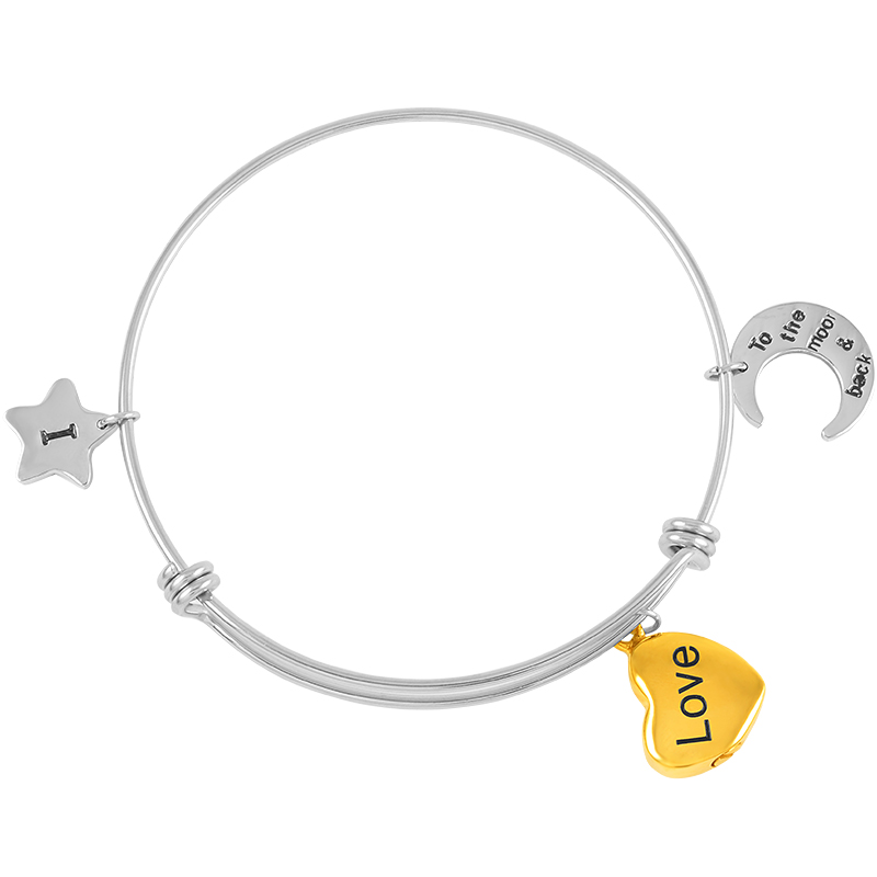 I Love You To The Moon And Back Urn Cremation Expandable Wire Bangle Jewelry For Women Men 60mm