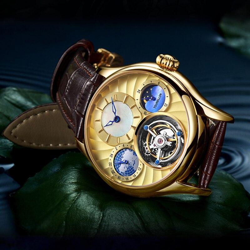 Real Tourbillon Mechanical Hand Wind men watch Top Brand Luxury Private custom Skeleton Clock men Sapphire Relogio Masculino 3