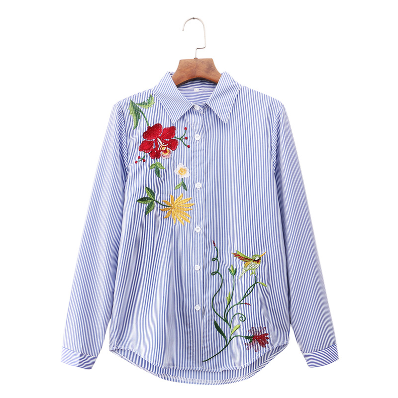 Mikialong Floral Embroidery Blouse Women Striped Long Sleeve Blouses 2018 Autumn Shirt Women Tops Ladies Office Camisas Mujer