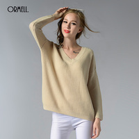 ORMELL 2017 Fashion Women Sexy Backless Pullover Sweater Female Casual Autumn Winter Long Sleeve Loose Knitted