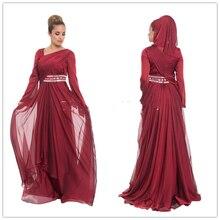 2016 New Fancy Burgundy Silky Chiffon Islamic Formal Maxi Dress Abric Muslim Hijab Clothing Under Scarf Kaftans For Women