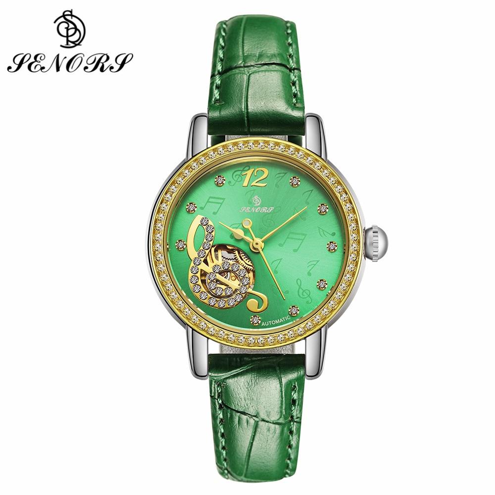 SENORS Top Brand Luxury Gold Mechanical Watch For Women Musical Note Leather Clock Rhinestone Dial Ladies Automatic Watches 116 senors серебряный