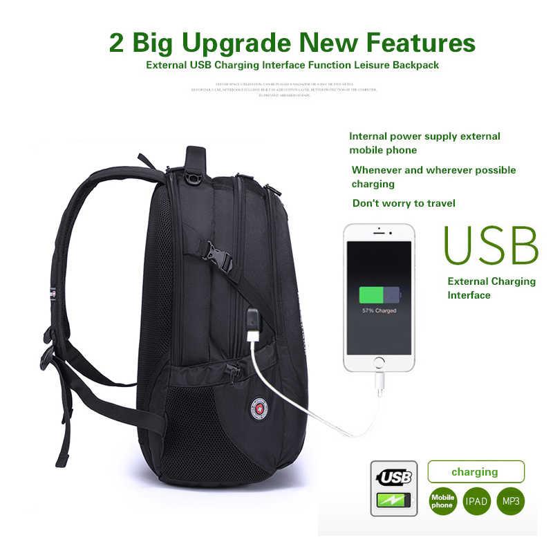 Mochila de Nylon impermeable suiza para hombres Unisex cargador de teléfono para ordenador portátil mochilas escolares casuales mochila de viaje de 15 a 17 pulgadas