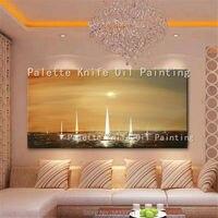 Iate navio barco à vela pintura a óleo Abstrata moderna pintados à Mão arte da Parede Da lona Fotos para sala quadros decorativos