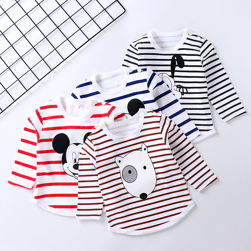 Cartoon T-Shirts Clothing Tops Spring Long-Sleeved Autumn Baby-Boys-Girls Striped Cotton