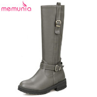 Buckle And Zipper Fashion Trend Platform Mid Calf Boots Thick Medium Heels Women Shoes Keep Warm