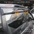 Para NISSAN X-TRAIL Rogue 2008-2013 Humo Vent Shade Visera de La Ventana de ajuste de la cubierta de Lluvia/Sol/Viento Guardia coche que labra Toldos Refugios