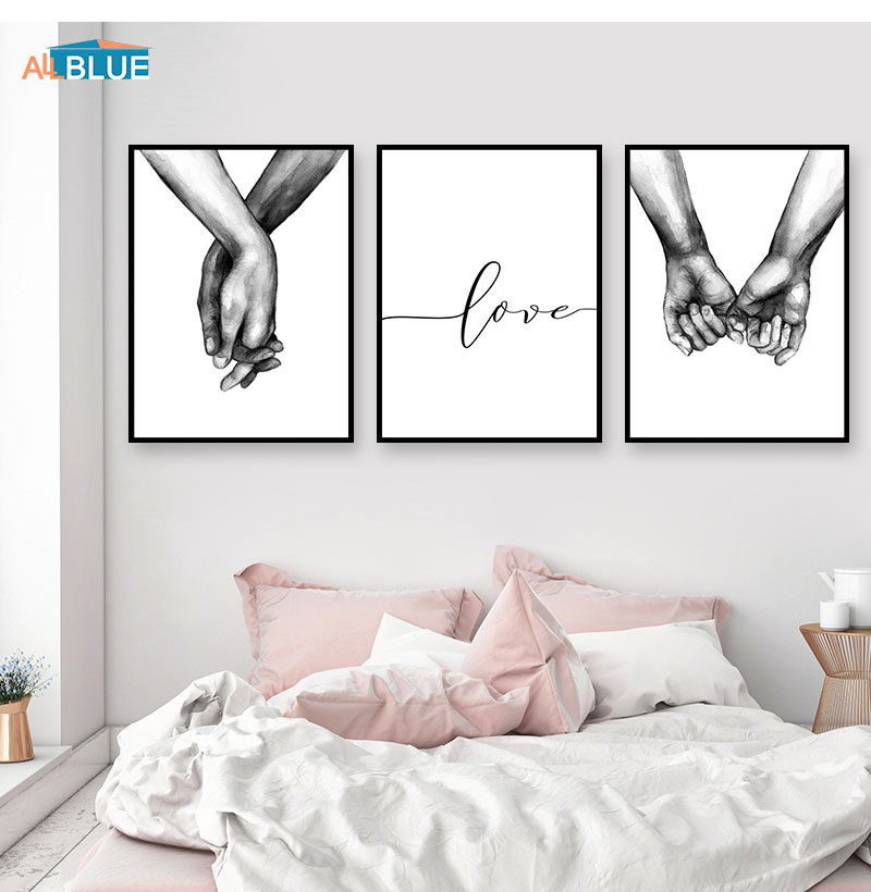 HTB1s6JOX0fvK1RjSszhq6AcGFXas Nordic Poster Black And White Holding Hands Canvas Prints Lover Quote Wall Pictures For Living Room Abstract Minimalist Decor
