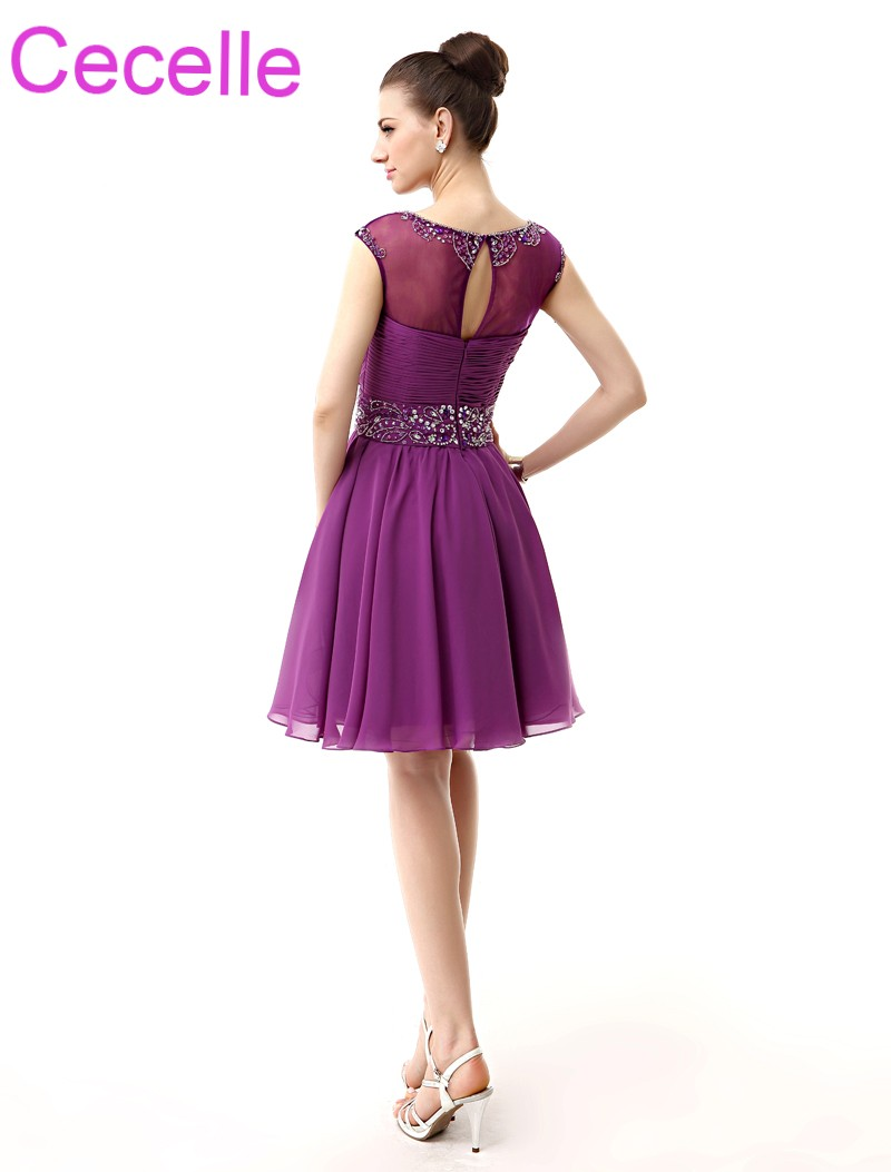 dcc06b2578d Purple Short Cocktail Dresses 2019 Sleeveless Beaded Ruched Chiffon A line  Knee Length Juniors Informal Prom Cocktail Party Gown-in Cocktail Dresses  from ...