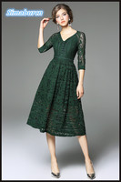 Top European Brand Lace Dress Women Half Sleeve Casual Office Female Temperament Robe Hollow Out Sexy