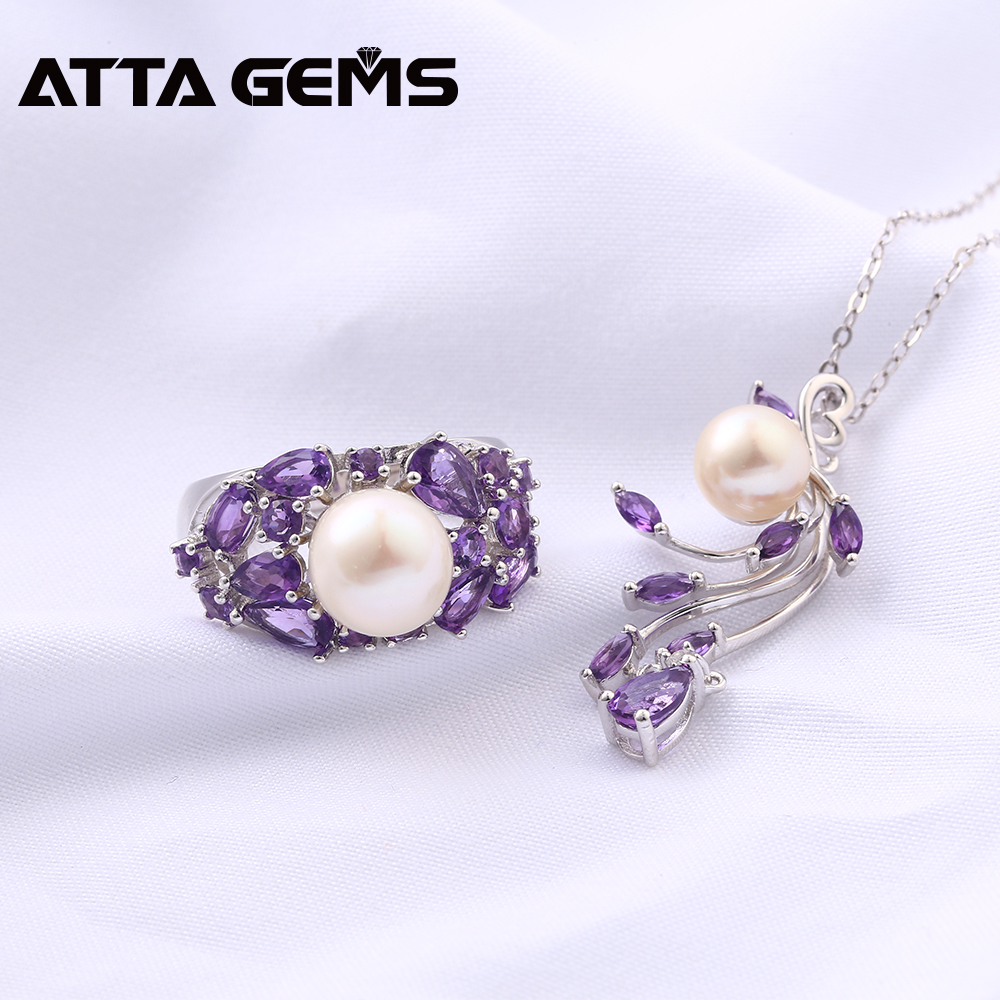 Natural Amethyst Sterling Silver Rings Pendants for Women Wedding Jewelry 8 Carats Natural Amethyst Pearl Mother's Gift S925-in Jewelry Sets from Jewelry & Accessories    2