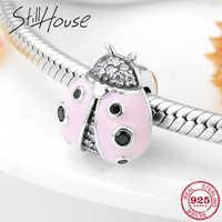 925 Sterling Silver pink LadybugFlashing CZ Charms Spacer Stoper Beads Fit Original Pandora Charms Bracelet Bangles Jewelry