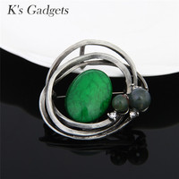 K S Gadgets Vintage Brooch Green Red Natural Stone Metal Flower Brooch For Women Yellow Stone