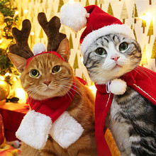 New Christmas Pet Costume 1Set Pet Cat Dog Hat Red Scarf Christmas Holiday Costu
