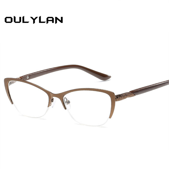 Oulylan Cat Eye Reading Glasses Women Anti-Fatigue Presbyopic Glasses Men High Quality Metal Frame Eyeglasses Prescription
