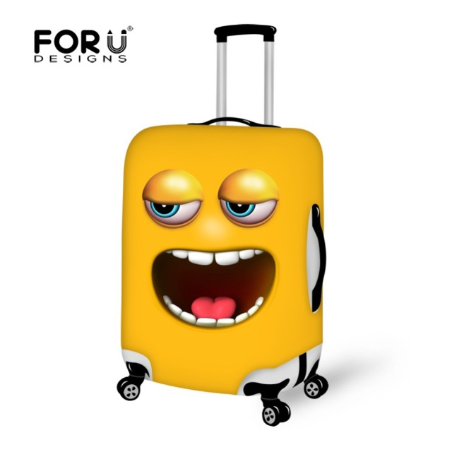 Funny Emoji Face Printing Suitcase Cover Elastic Dust-proof Travel Luggage Cover  Waterpoof Cover Trolley case for 18''-30''