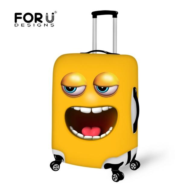 Funny Emoji Impressão Rosto Tampa Mala Elástica à prova de Pó-de Viagem Cobertura de Bagagem Trolley caso Waterpoof Cubra para 18 ''-30''