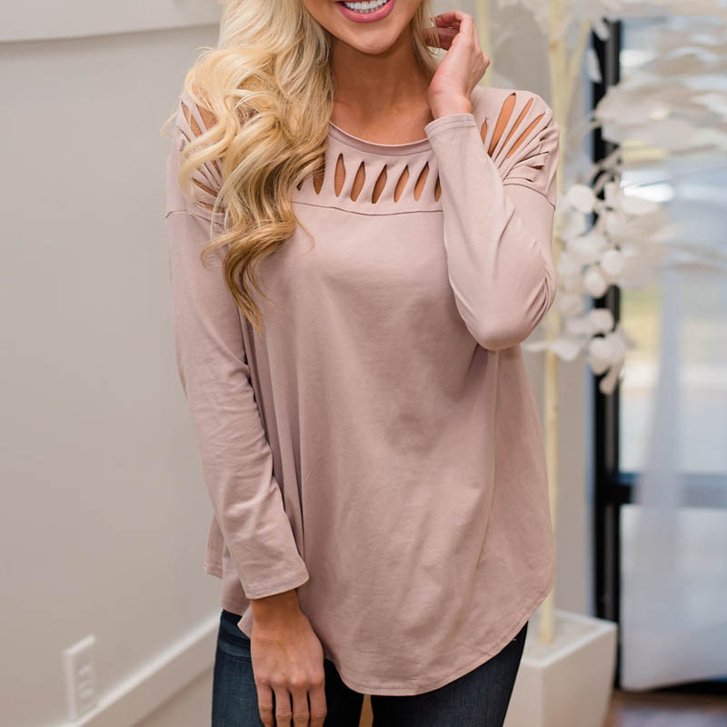 Women Blusas Crew Neck Long Sleeve Ripped Hollow Out Pullover Shirt Top Office Ladies Autumn Spring Solid Elegant Leisure Blouse