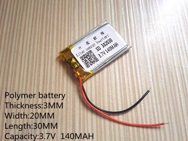 3.7V lithium battery 302030 032030 140mah MP3 MP4 GPS Bluetooth cell battery toys 1