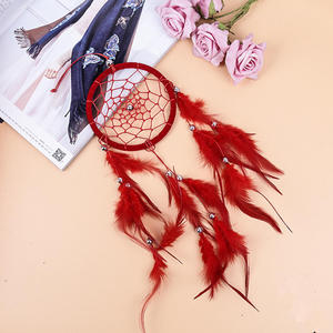 PANFELOU 40*12cm red color feathers Dreamcatcher Wind Chimes Indian Style Feather Pendant Dream Catcher Creative Car Hanging
