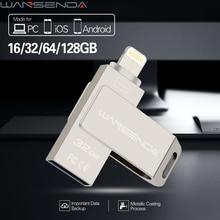 WANSENDA USB Flash Drive 16GB 32GB 64GB Metal Lightning OTG Pen Drive For iPhone 7 7 Plus 6S 6 5 5S USB Memory Stick Pendrive