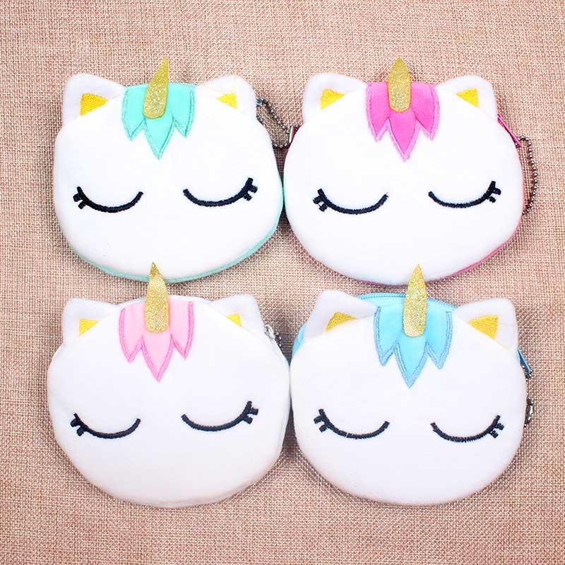 5 Colors Hot On Sale Kawaii Cartoon Unicorn Children Plush Coin Purse Zipper Change Purse Mini Wallet Kids Girl Women For Gift