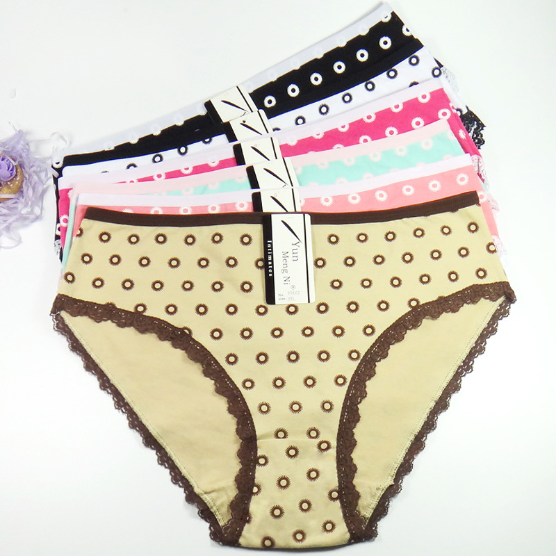 Free Shipping Big yards 2XL/3XL/4XL Women's   panties   underwear waist solid color Women's underwear print big mommy pants 89167