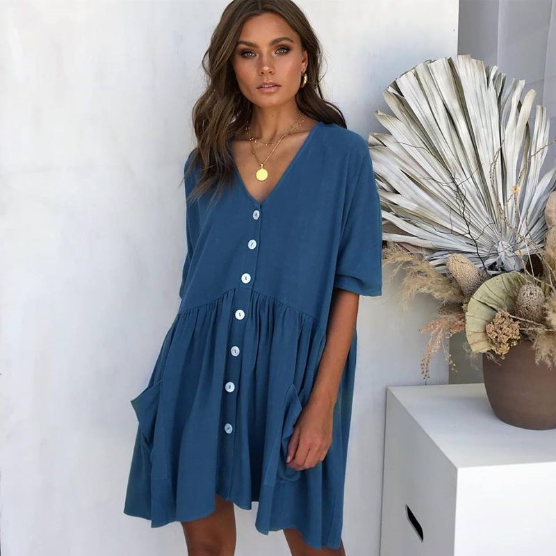 ELSVIOS 2019 New Women's Pockets Beach Summer Dress Ladies casual Short Sleeve V Neck Button Down Swing Mini Dress loose dress
