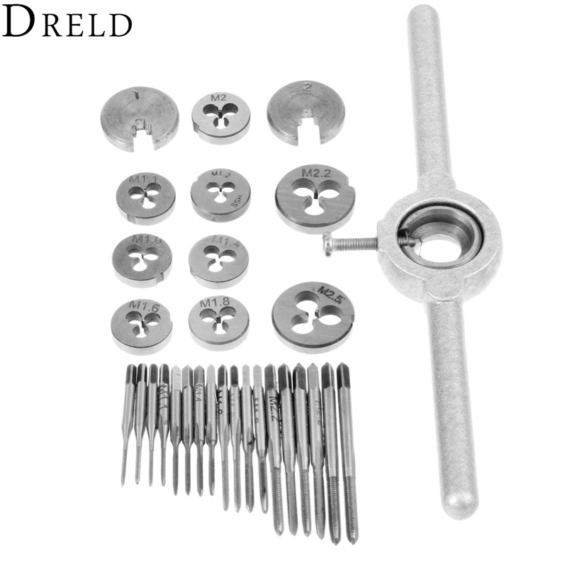 DRELD 30pcs Metric Mini Taps Dies Set M1-M2.5 Screw Thread Plugs Taps Alloy Steel Screw Taps With Tap Wrench Hand Tools Set 1 set metric hand tap and die set screw thread plugs straight taper reamer tools adjustable taps dies wrench