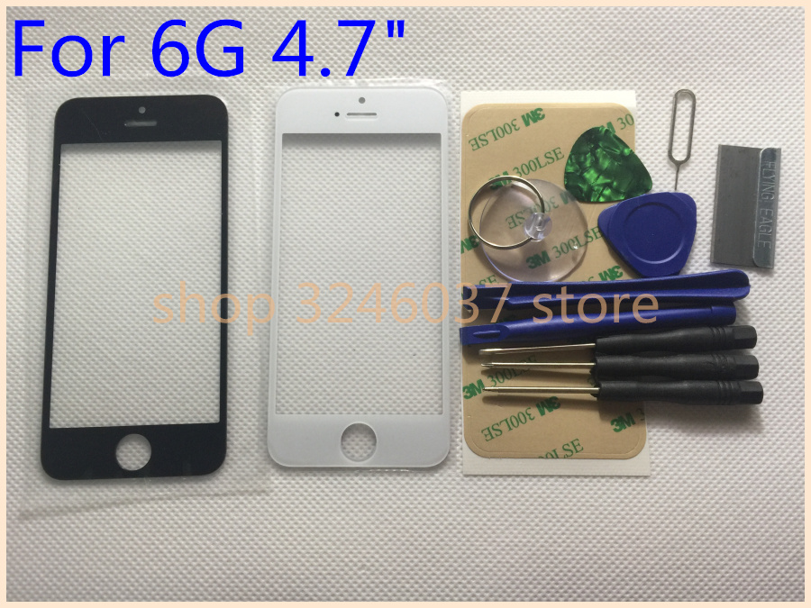1pcs Replacement Outer Glass for iphone 6 4.7 6G LCD Touch Screen Front Glass Outer Lens+sticker + tools image