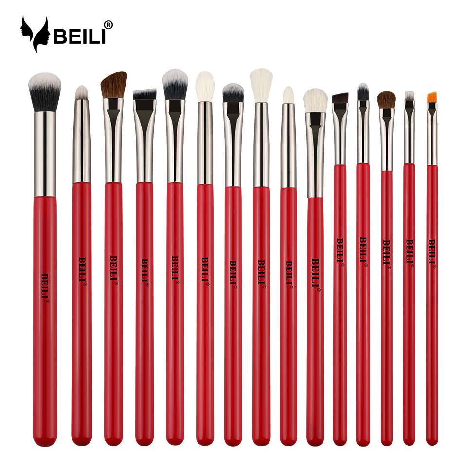 BEILI Red 15pcs Professional Makeup Brushes Set Natural Hair Eye shadow Blending Eyebrow Pony Goat  Bristles makeup brushes setsBEILI Red 15pcs Professional Makeup Brushes Set Natural Hair Eye shadow Blending Eyebrow Pony Goat  Bristles makeup brushes sets