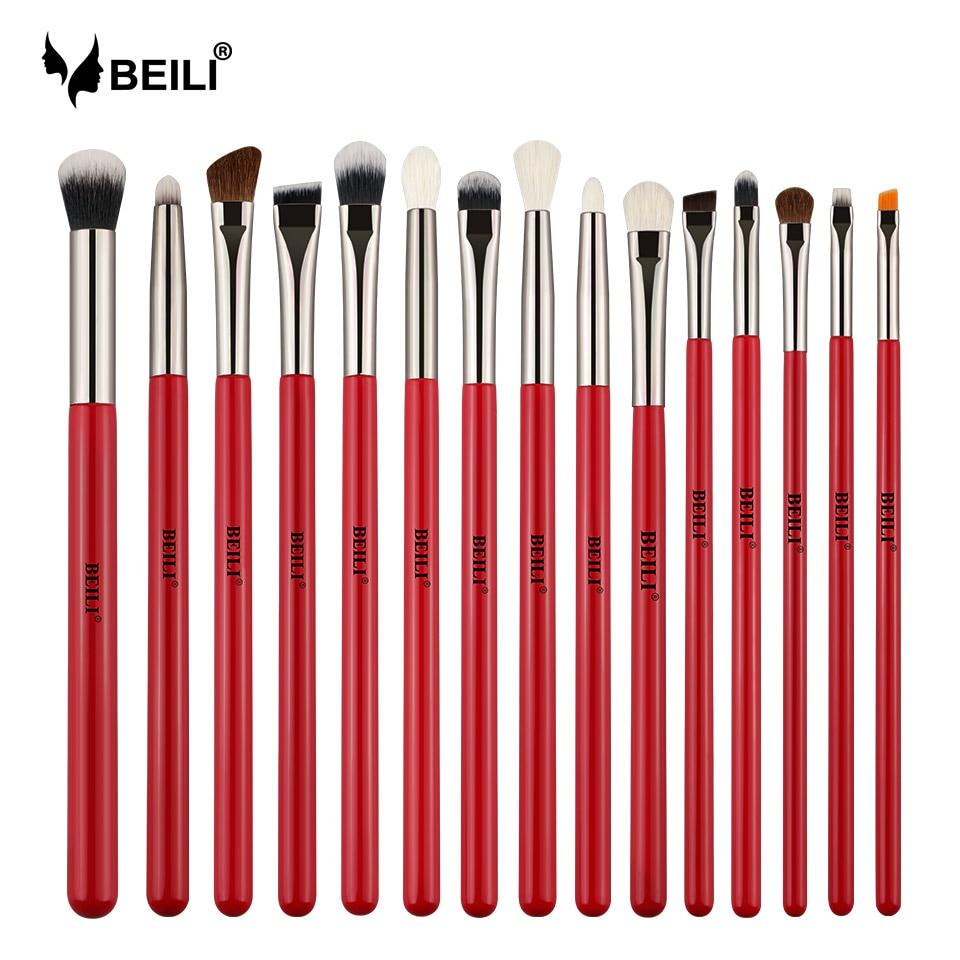 Beili Red 15pcs Professional Makeup Brushes Set Natural Hair Eye