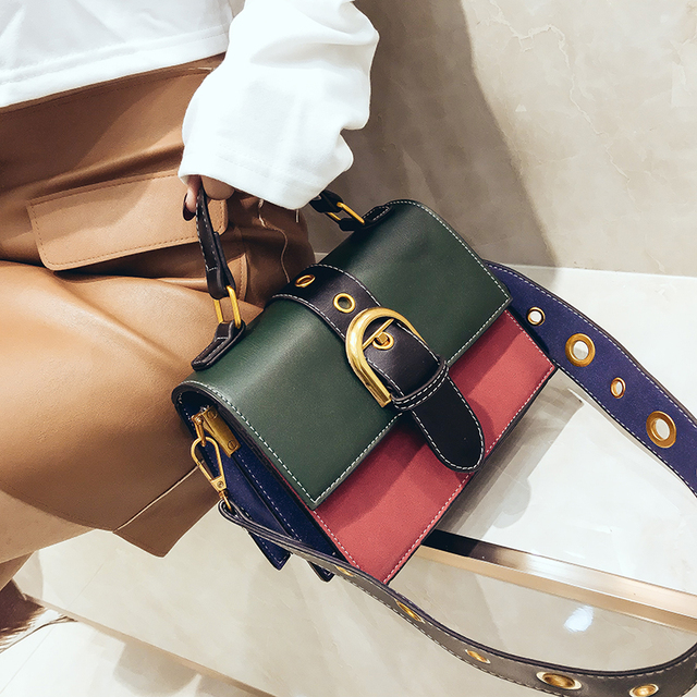 Mini Crossbody Sling Bags Vintage Woman Fashion Flap Sling Bag Color Blocking Messenger Bag 2018 New Beach Handbags Leather 2