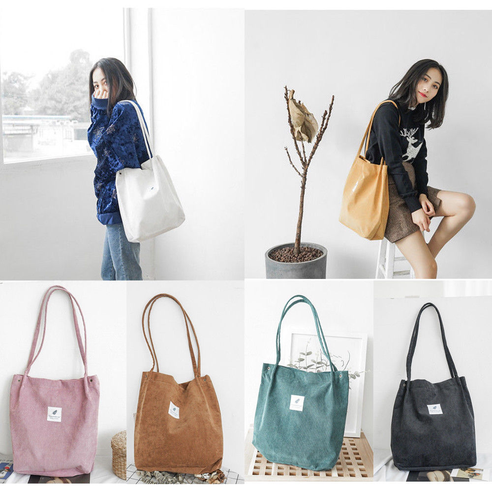 Hot 2019 Women Fashion School Bags Corduroy Magnetic Button Shoulder Ladies Tote Canvas Bags