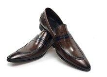 Slip-on sapatos de couro dos homens de luxo artesanal patchwork dedo apontado designer italiano sapatos masculinos