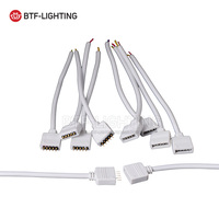 Free Shipping 10 Pairs 5Pin Female Male With 15cm Cable Wire White Wire Led Connectors For