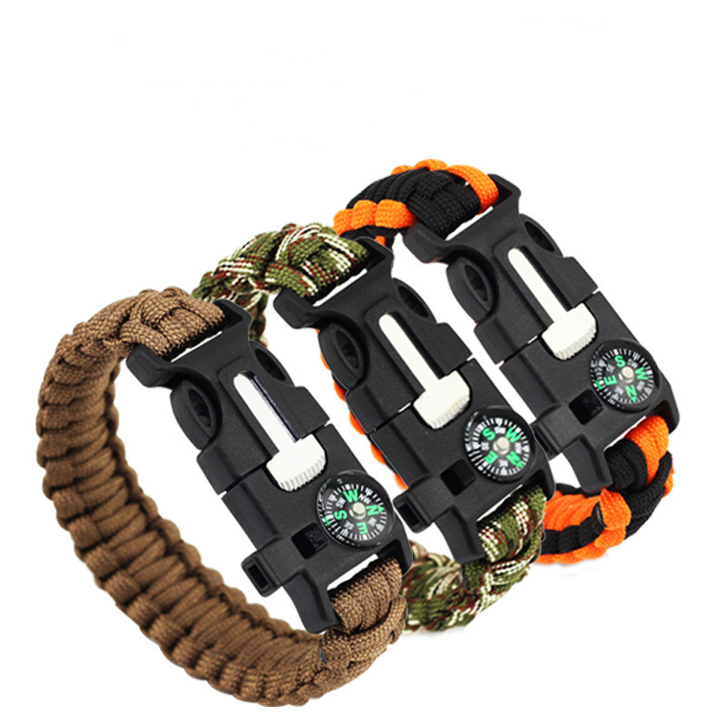2018 Hiking Climbing Paracord Bracelet outdoor Whistle Survival Gear Equipment Compass Buckle Escape Bracelet Starter Rope