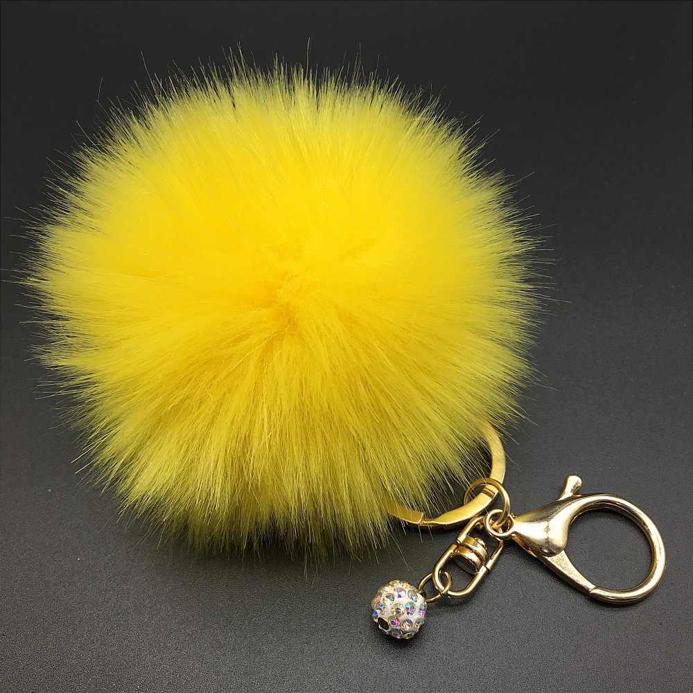 8 cm Fluffy Rabbit Fur Pompom Pele Pompons Pele Bola Pérola Chaveiro Chaveiro Chaveiro Chaveiro Porte Clef Charme