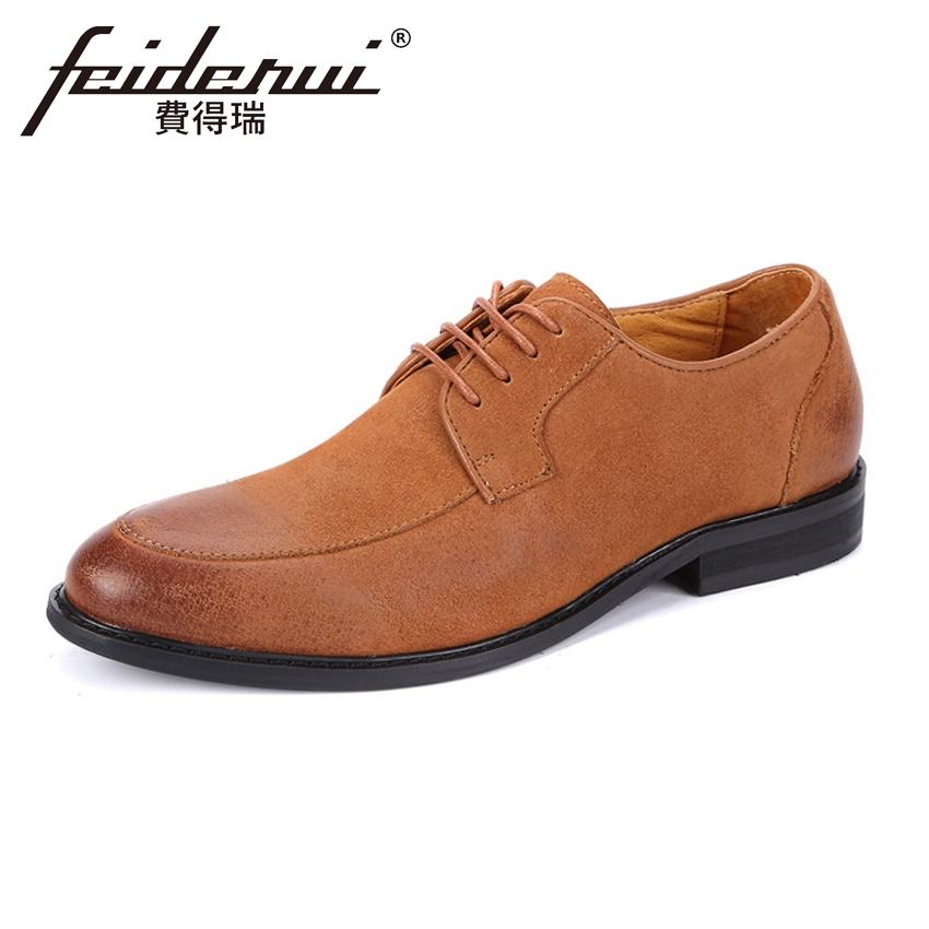 New Arrival Handmade Men's Footwear Round Toe Derby Cow Suede  Casual Flats Genuine Leather Formal Dress Shoes For Man ASD58 cyabmoz 2017 flats new arrival brand casual shoes men genuine leather loafers shoes comfortable handmade moccasins shoes oxfords
