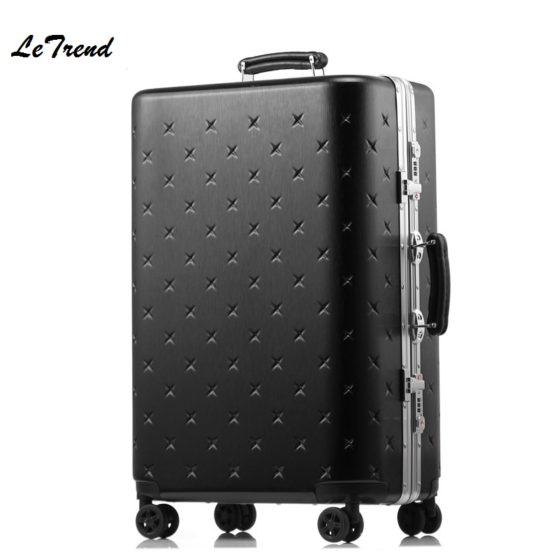 Letrend Nieuw Koreaans Rolling Luggage Spinner Trolley Wheel Koffer Aluminium Frame Reistas Hardside Carry On Luggage Red Trunk