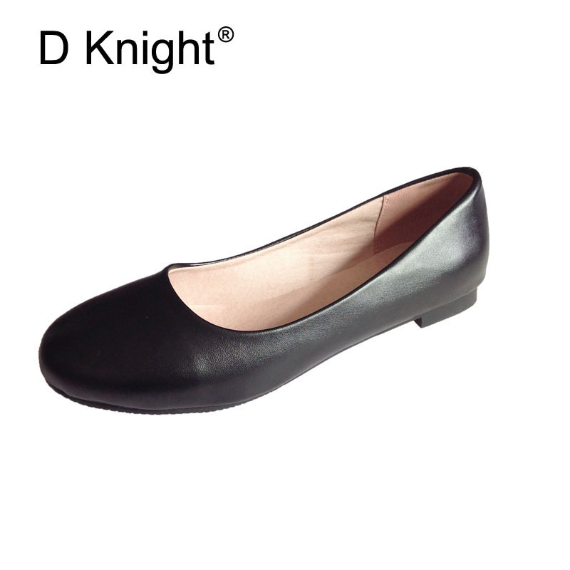 Ladies Ballerinas Flat Shoes Woman Plus Size 34-47 Round Toe Plain Solid Slip-on Women Flats Women Casual Autumn Flats Shoes women fashion bow pointed toe slip on girls flats ladies casual breathable ballerinas shallow flats women flat students shoes