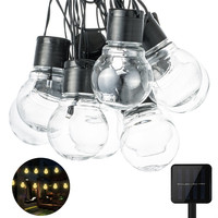 Clear Bulb Globe Solar String Lights Outdoor Waterproof 5CM Big Ball 10 20 LED Fairy Lights