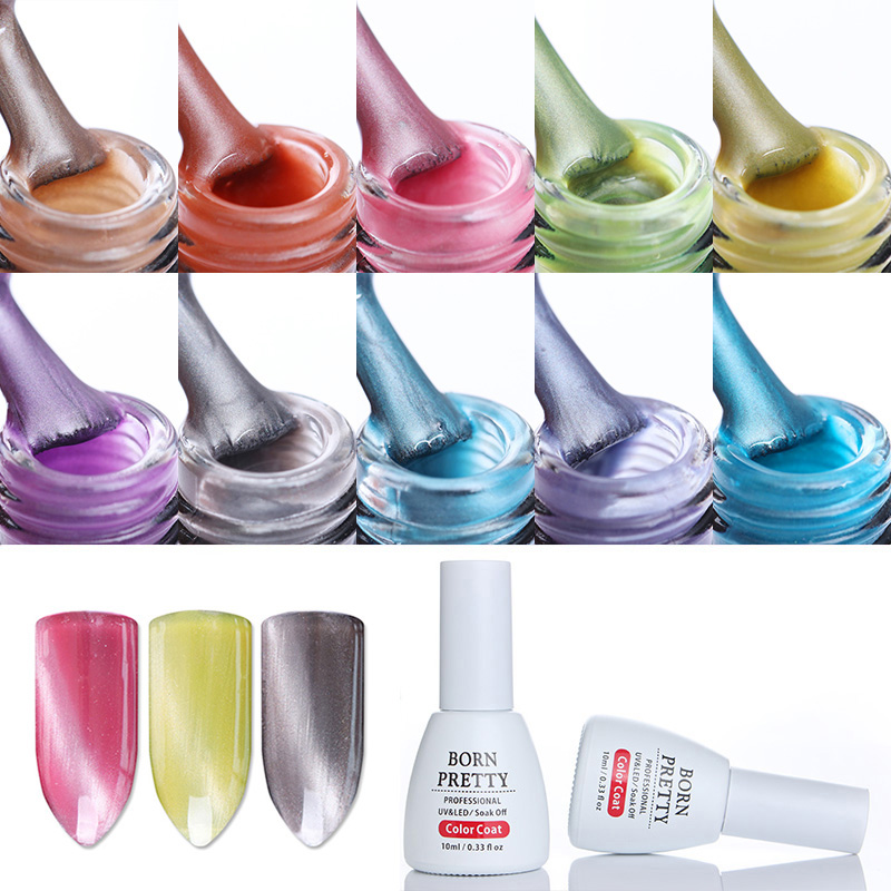 10ml BORN PRETTY Cat Eye Gel Polish Soak Off Base Top Coat Gel Jade Pearl Led UV Gel with Magnet Board UV Light Needed 10 Colors ...